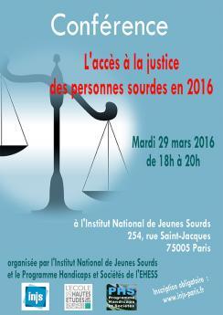 """Affiche de la conférence """"L'accès à la justice pour les personnes sourdes"""""""