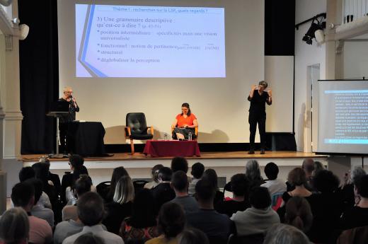 """Présentation du livre """"Grammaire descriptive de la LSF"""" par Agnès Millet"""