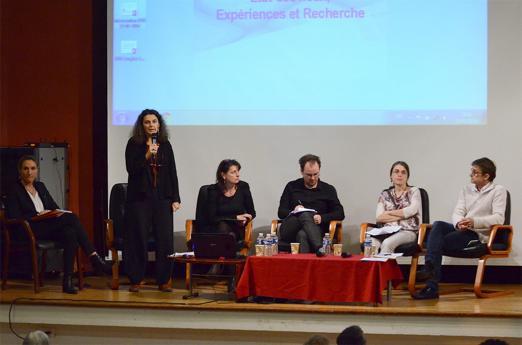 Les intervenants de la conférence - Elodie Hémery (directrice de l'INJS de Paris), Andréa Benvenuto (EHESS)  Marie Coutan (EHESS) Pascal Marceau (FNSF)  Sophie Dalle-Nazébi (sociologue), Sylvain Kerbouc'h (sociologue)