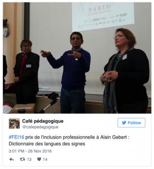 Prix de l'inclusion professionnelle à Alain Gébert
